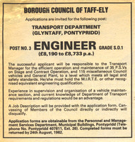 Taff-Ely fleet engineer job advert 28-Jul-1982